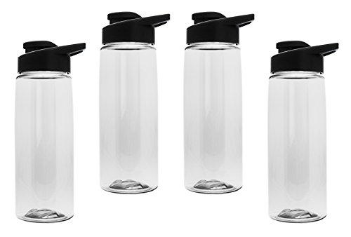 Gary Plastic Packaging 26 oz BPA Free Tritan Sports Bottle (4 Pack) with Drink-Thru Lid ()