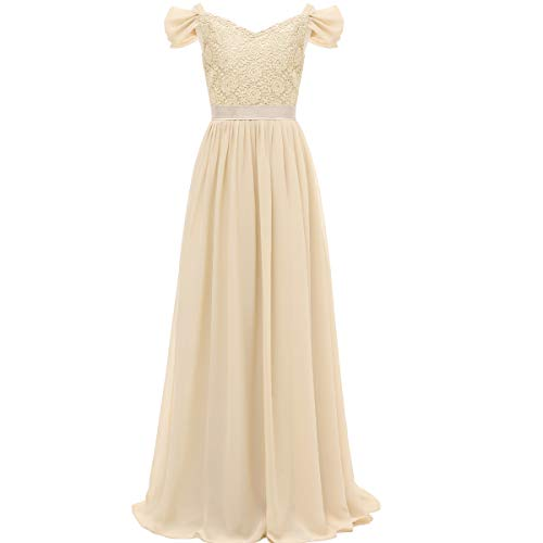 SSPbridal A-Line Off-Shoulder Chiffon Junior Bridesmaid Dresses Long Flower Girl Gown with Belt J16 -