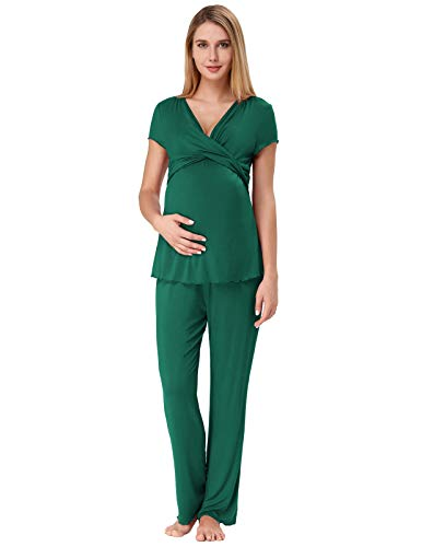 Zexxxy Summer Maternity Pajama Set Cotton Baby Shower Robe and Nursing PJS Nightwear L Green