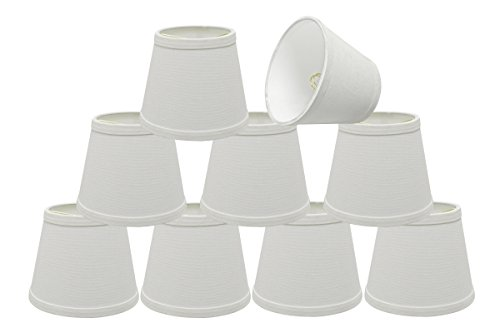 Aspen Creative 32862-9 Small Hardback Empire Shape Chandelier Clip-On Lamp Shade Set (9 Pack), Transitional Design in White, 5