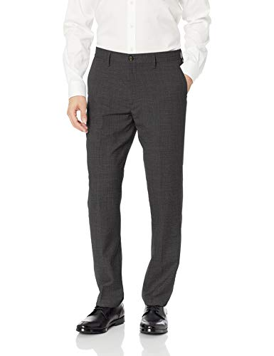 BUTTONED DOWN Men's Tailored Fit Stretch Wool Dress Pant, Charcoal, 36W x 29L