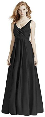 Davids Bridal Satin Tank Long Ball Gown Bridesmaid Dress Style F15741  Black  16