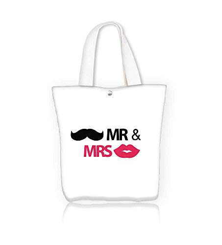(Canvas Tote Handbag Mr with mustache and lips Men And Women Shopping Tote W16.5xH14xD7)