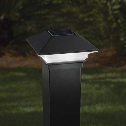 2-Pack Black Solar LED Plastic Deck Post Cap Deckorators 2.5 in Solar Post Cap