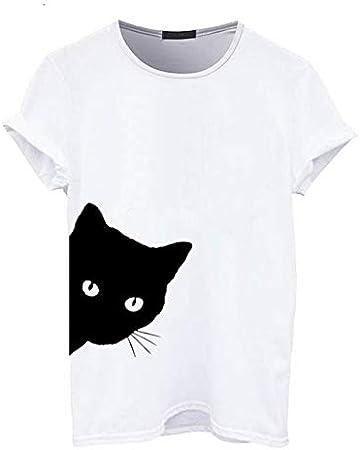 ADSIKOOJF Camiseta con Estampado Lateral de algodón para Mujer, Camiseta Informal para Dama, Mujer Negra, Camiseta Blanca de algodón para Mujer LD: Amazon.es: Hogar