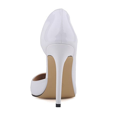 Women High Work PU Heels Leather White Pumps Court Zbeibei Women's Shoes Corset Faux Style RIBqaPWa