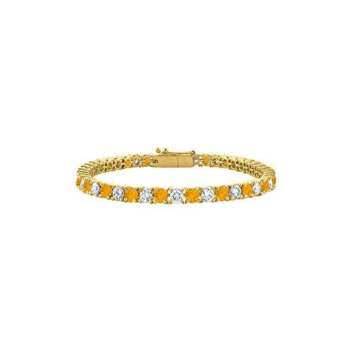 - Cubic Zirconia and Citrine Tennis Bracelet in 18K Yellow Gold Vermeil. 5CT TGW. 7 Inch