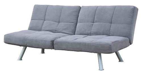 DHP Kaila Sofa Sleeper Convertible Futon Bed with Adjustable Armrests, Slanted Metal Legs and Splitback - Charcoal