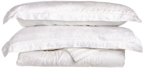Tuscany Fine Linens Livorno 100-Percent Beechwood Modal Duvet Cover Set, White, King