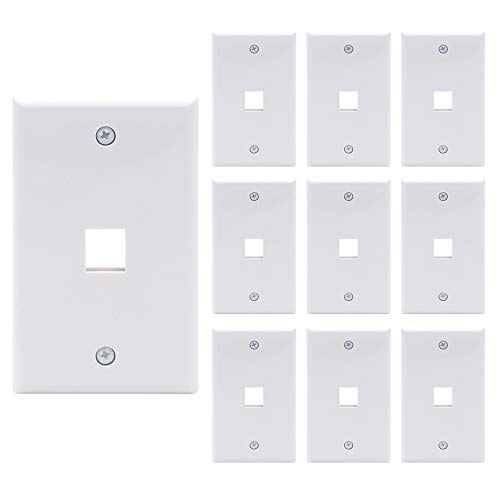 - [UL Listed] VCE 10 Pack 1-Port Keystone Wall Plate for Keystone Jack and Modular Inserts- White