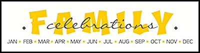 """Wall Decor Plus More WDPM3582 Family Celebrations with Month Letters Perfect for Do-it-yourself Birthday Board Project Vinyl Decals Stickers, 23"""", Yellow/Storm Gray"""