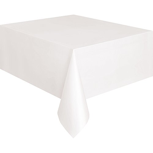"White Plastic Tablecloth, 108"" x 54"""