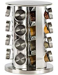 (Double2C Revolving Countertop Spice Rack Stainless Steel Seasoning Storage Organization,Spice Carousel Tower for Kitchen Set of 16 Jars)