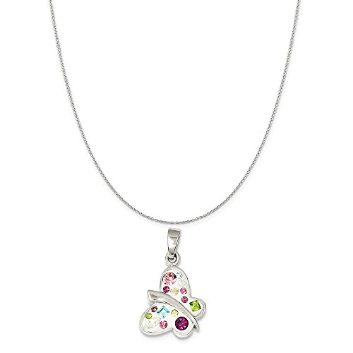 Jewelstone Collection - Sterling Silver Stellux Crystal Butterfly Pendant on a Sterling Silver Cable Chain Necklace, 20