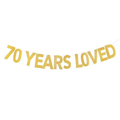 PALASASA 70 Years Loved Banner - Gold Glittery 70th Birthday Party - Vintage Oliver Sign