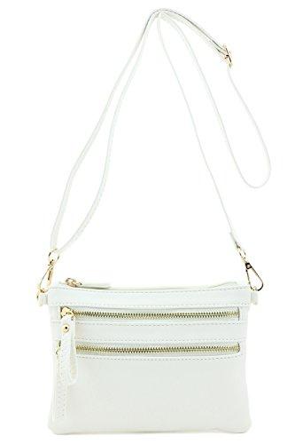 Multi Zipper Pocket Small Wristlet Crossbody Bag (White)