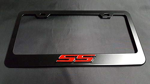 Usudu 3D SS Logo Emblem Stainless Steel License Plate Frame Rust Free W/Bolt Caps for Chevy Camaro (Black)
