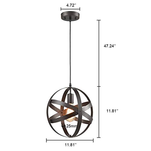 Truelite Industrial Metal Spherical Pendant Displays Changeable Hanging Lighting Fixture by AXILAND (Image #6)