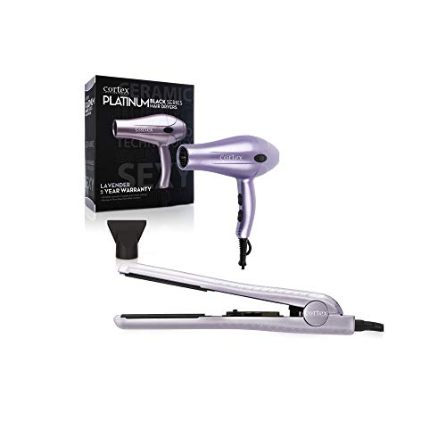 Cortex International Black Series Platinum 1875 Watts Hair Dryer With Nozzle & 1.25 Inch Ceramic Tourmaline Flat iron Bundle