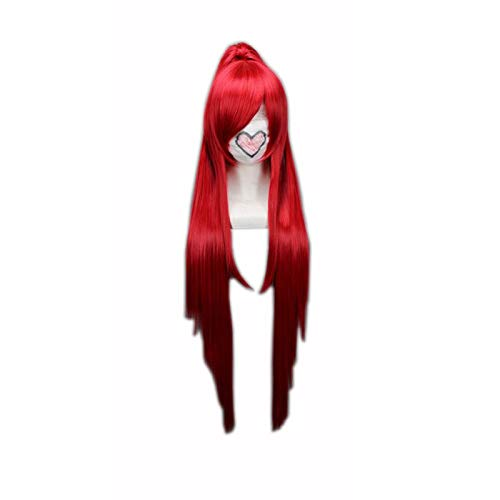Red Long Straight Chip Ponytail Cosplay Wigs Female's Party Halloween Heat Resistance Synthetic Hair