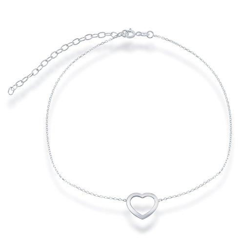 Sterling Silver 12 + 3 Italian Open Heart Choker Necklace