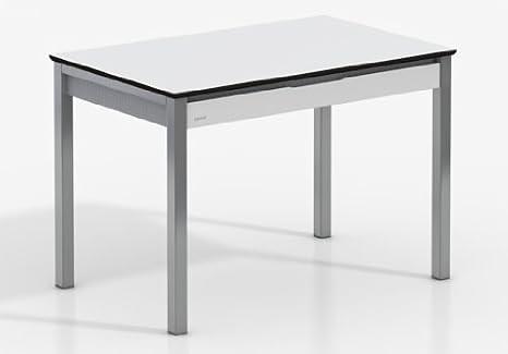 MESA EXTENSIBLE CAMEL - Encimera Compacto Blanco/Armazon Blanco/Patas Aluminio, 110X70 cms