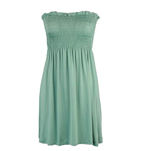 REXINTE Women's Off Shoulder Mini Dress Shirred Tummy Control Dresses Solid Cocktail Prom Ballgown Fancy Dress(Green, M)