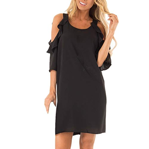 Womens Short Sleeve Mini Dress Fashion Ladies Casual Strapless Shoulder Ruffle Sleeve Pure Color Summer Beach Dresses ()