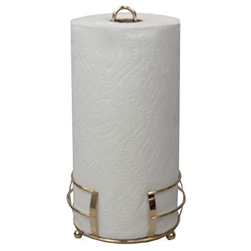 Home Basics PH45733 De Lyon Free-Standing Paper Holder Towel Dispenser Vertical Design for Kitchen Countertop & Dinning Table Room, Rose Gold