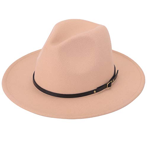 Lanzom Women Lady Retro Wide Brim Floppy Panama Hat Belt Buckle Wool Fedora Hat (Camel, One Size)]()