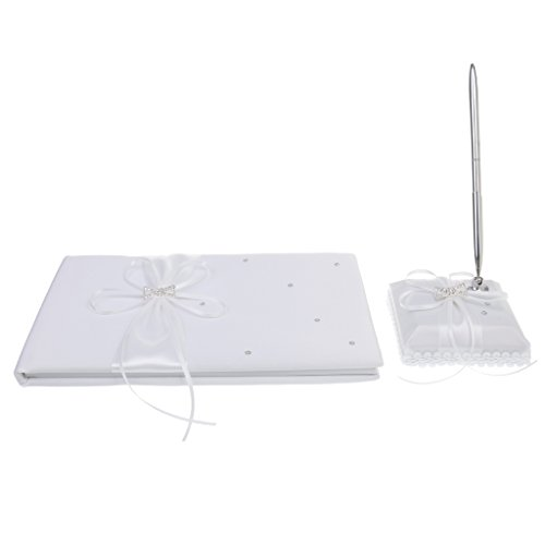 Jili Online White Wedding Guest Sign in Messages Crystal Bowknot Register Book Pen Set