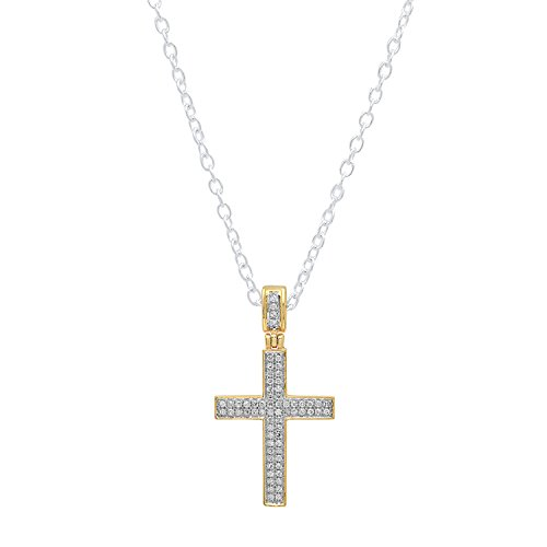 Dazzlingrock Collection 0.18 Carat (ctw) 18K Round Diamond Men's Hip Hop Cross Pendant (Silver Chain Included), Yellow Gold 18k Gold Diamond Cross Pendant