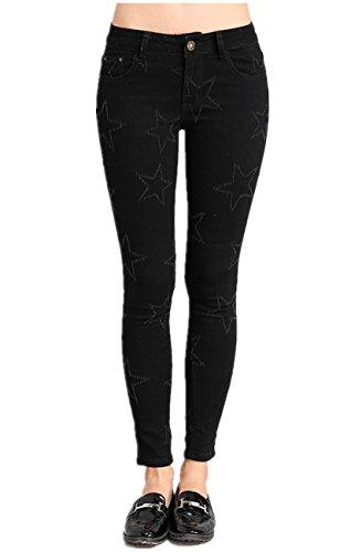 Lanbaosi Femme Jeans Slim Taille Haute Pantalons Denim Leggings Casual Pants Noir