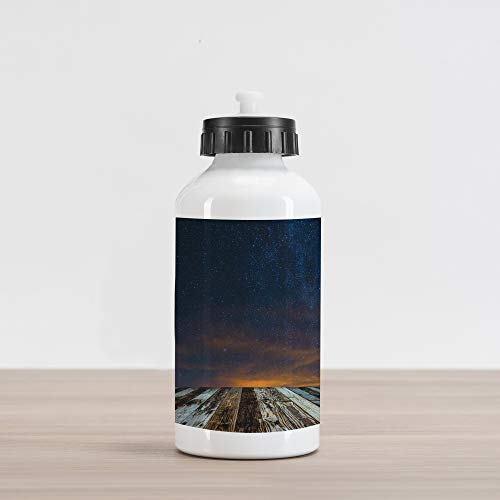 Ambesonne Milky Way Aluminum Water Bottle, Andromeda Galaxy Stars Photo from Earth Vast and Infinite Nature of The Cosmos, Aluminum Insulated Spill-Proof Travel Sports Water Bottle, Multicolor