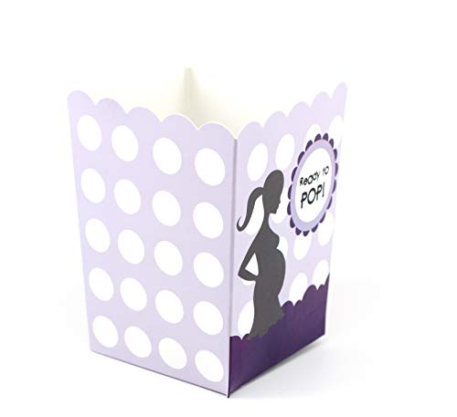 Ready to Pop Baby Shower Popcorn Favor Box | 20 Count | Purple Polka Dots | 3 Inches x 4 Inches | Ready To Pop Baby Shower Popcorn Favors
