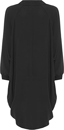 Batwing Salut Longue Noir Bouton Femmes Tailles Manche Ourlet Robe Robes Femmes Grande 54 Taille WearAll Dames Il Trempette 44 Collier Chemise 7RxntAvwW