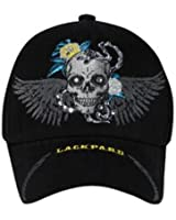 Skull With Wings & Rhinestones Mesh Back Hat Cap - Black
