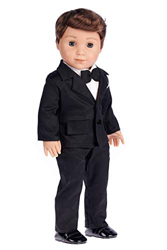 Tuxedo - 5 Piece Tuxedo Set - Clothes Fits 18 Inch American Girl Doll - Black Jacket, Pants, Belt, White Shirt and Dress Shoes (Dolls not Included) ()