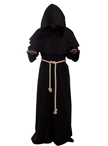Friar Medieval Hooded Monk Renaissance Priest Robe Costume Cosplay  Black L -