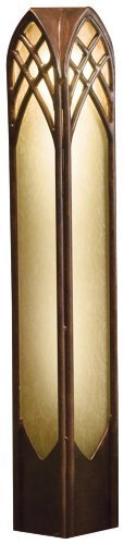15449TZT Cathedral Bollard 1LT Incandescent/LED Hybrid Low Voltage Landscape Path and Spread Light, Textured Tannery Bronze Finish and Dark Citrine Glass by Kichler Lighting - Textured Tannery Bronze Finish