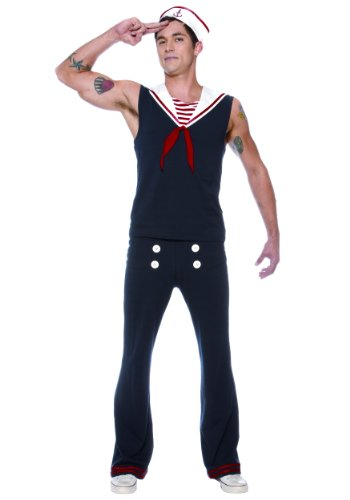 [Lip Service Mens Sexy Vintage 40s Navy Sailor Halloween Costume L (Large)] (Male Sailor Costumes Halloween)