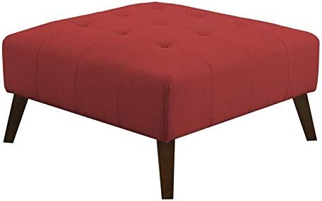 Emerald Home Binetti Brick Red Ottoman Deep Tufting and Stitching Details