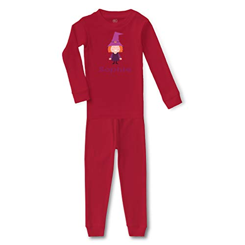 Personalized Custom Halloween Child Witch Costume Cotton Crewneck Boys-Girls Infant Long Sleeve Sleepwear Pajama 2 Pcs Set Top and Pant - Red, 5/6T -