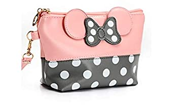 Amazon Com Cartoon Leather Travel Makeup Handbag Cute Portable Cosmetic Bag Toiletry Pink Beauty