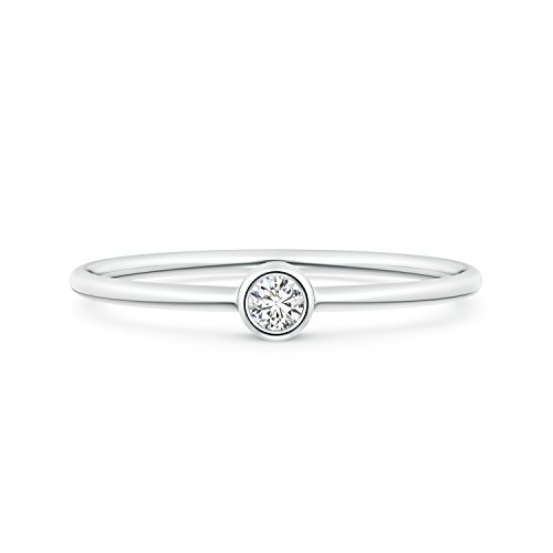 Solitaire Lab Grown Round Diamond Stackable Ring in 14k White Gold