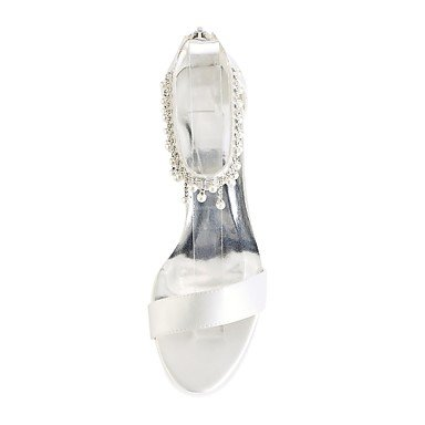 Wedding Toe 4U Crystal Women's Basic Wedding ivory Open Heel for Satin Evening Party Pearl Shoes Stretch Ivory Stiletto Shoes Summer Pump Best Oq6d8O