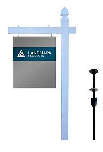 Landmark Vinyl PVC Real Estate Sign Post with Heavy Duty Stake - 6' Tall (4