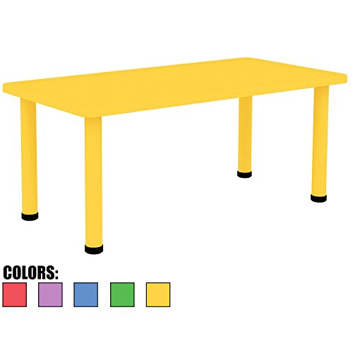 "2xhome - Yellow - Kids Table - Height Adjustable 21.5'' - 22.5'' Rectangle Shape Child Plastic Activity Table Bright Colorful Learn Play School Home Fun Children Furniture Round Safety Corners 24""x48'' by 2xhome"