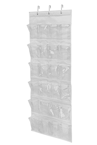 Wander Agio Womens Shoes 24-pocket Sundries Phone Towel Organizers Over-the-door Shoe Organizer White Vinyl