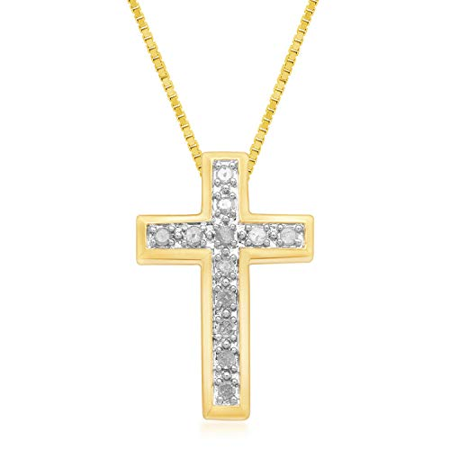 Jewelili 18kt Yellow Gold Plated Sterling Silver 1/4cttw Natural White Diamond Cross Pendant Necklace, 18